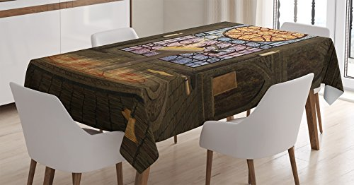 Gothic House Decor Tablecloth by Ambesonne, Lectern on Pentagram Symbol Medieval Architecture Dark Spell Altar, Dining Room Kitchen Rectangular Table Cover, 52 X 70 Inches, Olive Green (Medieval Dinnerware)