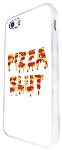 1091 - Cool Fun Pizza Slut Junk Food Take Away Doodle Design iphone SE - 2016 Coque Fashion Trend Case Coque Protection Cover plastique et métal - Blanc
