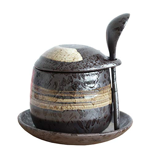 Japanese Style Stoneware Steamed Egg Cup, Bird'S Nest Stew Pot, Dessert Pot, Seasoning Jar. (With Spoon And Saucer) ()