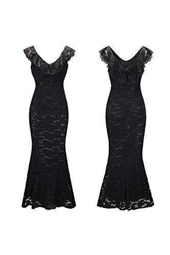 YACUN Damen Abends Party Kleid Verstimmen Ärmellosen Langen Cocktail Kleid Black fDjnoc