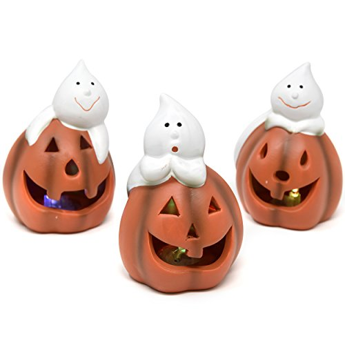 Cute Halloween Decorations (Led Light Up Color Changing Halloween Jack O Lantern Pumpkin With Cute Ghost Table Topper Set Of 3 Fall Thanksgiving Harvest Autumn Trick Or Treat Centerpiece Party Décor Accessories By Gift Boutique)