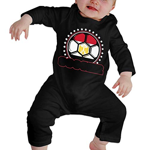 UGFGF-S3 Egypt Flag Soccer Player Toddler Baby Long Sleeve Romper Jumpsuit Kid Pajamas Onsies Black -