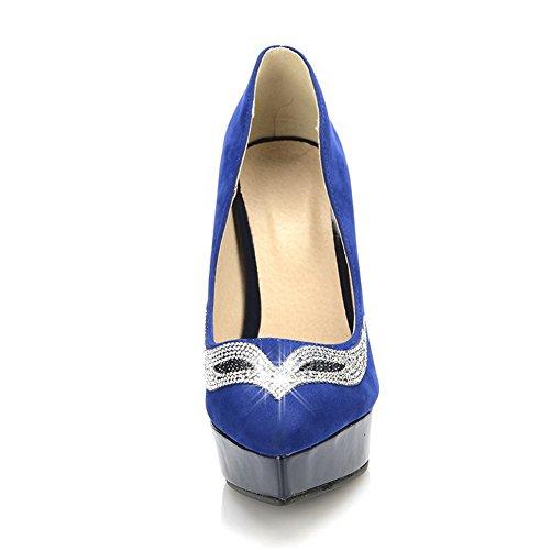 Solides Fermé Haut Givré Pu Pompes De Fr Rond Womans Orteils Pointes Talons Bleu Vouge001 3 Talon Bout 5B1UOxq