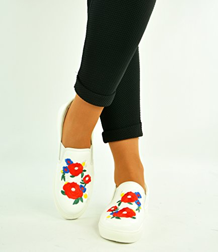 Pumps 8 Flat Womens Uk New 3 Floral Sneakers On White Ladies Slip Shoes Trainers Size wxZXTBq