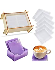 Lorvain 6PCS Square Coaster Resin Molds with Coaster Storage Box Mold, Silicone Epoxy Casting Coaster Molds for DIY Cups Mats Bowl Cushion, Home Decoration