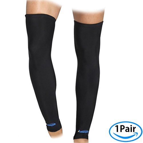 Compression Leg Sleeve - ASOONYUM Sports Shin Calf Compression Sleeves Socks for Shin Splints Arthritis Men Women - Basketball, Running, Football Knee Brace Support With Silicone Anti-Slip Black