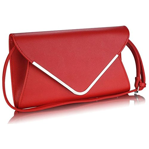 Style Flap Quality LeahWard® Flap Leather Bag Handbag Faux CWE00264 Red Clutch High Women's Clutch Envelop Purse 0wHHOxYr