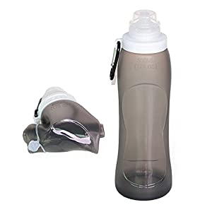 Fansino Foldable Water Bottle - Leak Proof Twist Cap - BPA Free, 17 Ounce (Black)