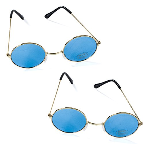 Tigerdoe John Lennon Glasses - Hippie Sunglasses - 2 Pk Blue Costume Glasses - - Dress Lennon Costume Fancy John