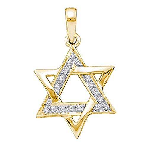 Roy Rose Jewelry 14k Yellow Gold Round Diamond Star Magen David Jewish 6-point Pendant 1/10-Carat tw