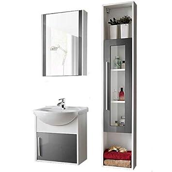 Badmöbel 4 TLG Set \'Joe 50\' Badezimmerschrank Waschbecken 50cm ...