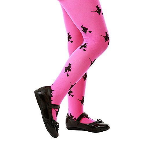 Pink Mid-Rise Witch Halloween Children's Cosplay Costume Tights (Medium)