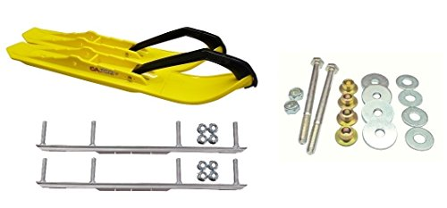 C&A Pro Yellow XCS Snowmobile Skis w/ 6'' Shaper Bars Complete Kit Ski-Doo ZX[ADSA]/REV/RT/XPXM 2000 & Newer by Powersports Bundle