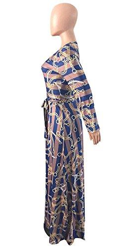 Aro Lora Sexy Des Femmes V-cou À Manches Longues Imprimé Robe Maxi Cravate Ceinture Bleue