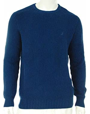 Men's 100% Cotton Crew Neck Sweater Estate Blue Small