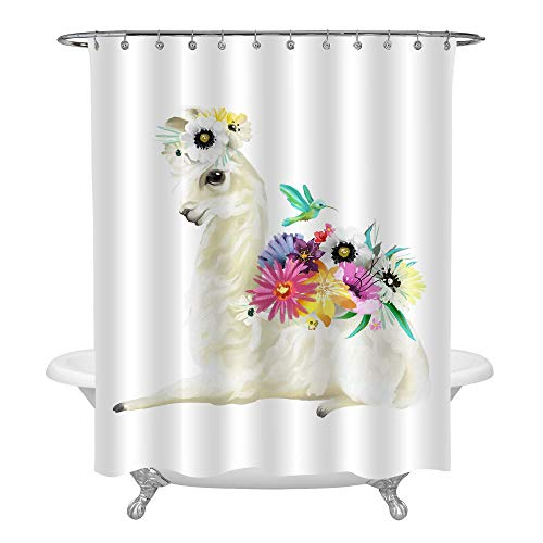 MitoVilla Cute Hand Painted Mexican Llama Shower Decorations, Alpaca with Colorful Flowers, Floral Bouquet and Hummingbird Shower Curtain Set, Lama Gifts for Girls, Heavy Duty Waterproof 72 by 72