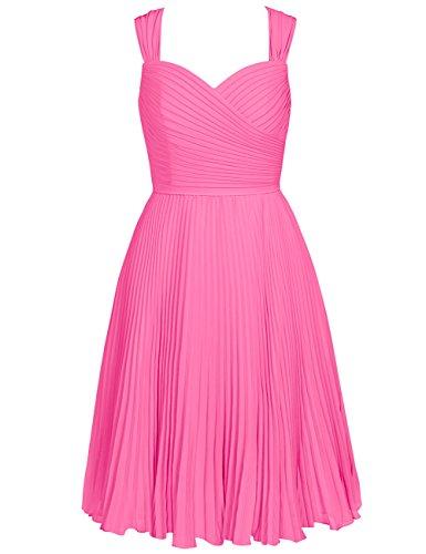 Hot Dresses Sweetheart Cdress Straps Chiffon Womens Bridesmaid Short Wedding Pleated pink pwUzqAO