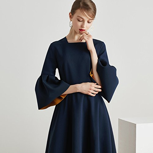 Sexy New Spring Autumn Neck Dresses Color for cotyledon 2018 Sleeve Solid Scoop Skirt Ruffle Suit qpanzS