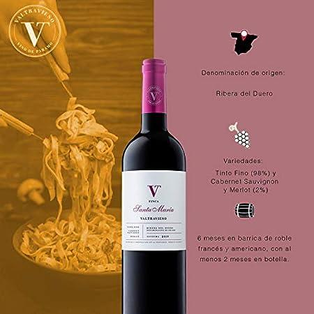 Caja Vino Tinto Ribera del Duero - Finca Santa Maria Roble Denominación de Origen/Tinto Fino (98%), Cabernet Sauvignon & Merlot (2%)| Pack Lote Regalo de 6 Botellasx750ml