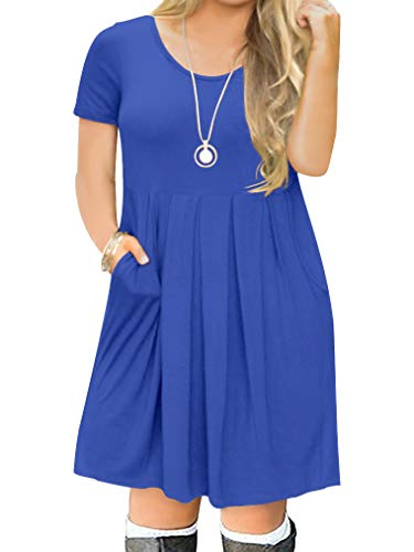Light T-shirt Womens Bridesmaid (POSESHE Women's L-4XL Casual Short Sleeve Pleated Plus Size T Shirt Dress with Pockets (2 Plus, Royal Blue))