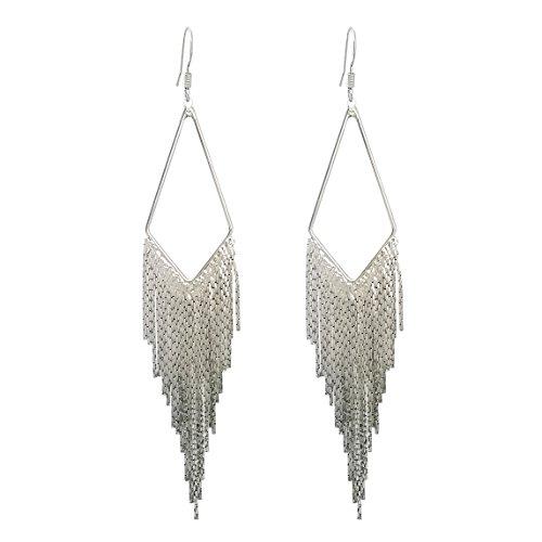 SELOVO Long Dangle Earrings Tassel Boho Bohemian Silver Tone Fish Hook Earrings