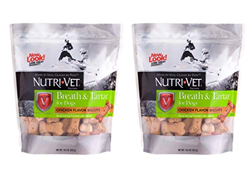 Nutri-Vet Breath and Tartar Dog Mint and Parsley Flavored Biscuits, 19.5 oz. - Pack of 2