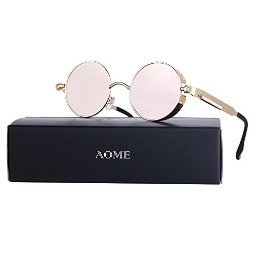 AOME Gothic Steampunk Round Sunglasses Metal Frame Mirrored Circle Lens Glasses (Rose gold&Pink, - Rose Sunglasses Lens