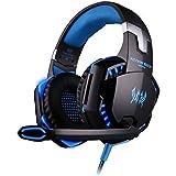 KingTop EACH G2000 Auriculares Gaming de diadema con micrófono estéreo Bajo luz LED para PS4 PC Teléfonos Moviles Azul y Negro