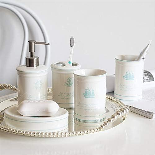 FXin バスルームアクセサリー、5セットのアメリカのバスルームトイレタリーのセラミックバスルームセット、6スタイルが利用可能 シャワー室 (Color : F)