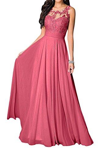 Langes Kleider mit Braut Kleider Ausschnitt Abendkleider U Damen Jugendweihe Marie Fuchsia La Wassermelon Spitze Brautmutter pzYqw