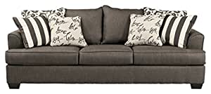 Ashley Furniture Signature Design - Levon Sleeper Sofa - Queen - Memory Foam Mattress - Charcoal Gray