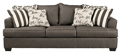 - Ashley Furniture Signature Design - Levon Sleeper Sofa - Queen - Memory Foam Mattress - Charcoal Gray
