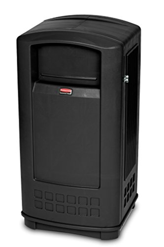 Rubbermaid Commercial Plaza Jr. Trash Can, 35 Gallon, Black, (Plaza Receptacle)