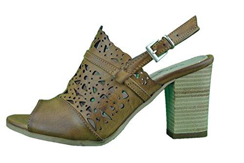 Inart...DONNA - Sandalias de vestir de piel sintética para mujer marrón cuero