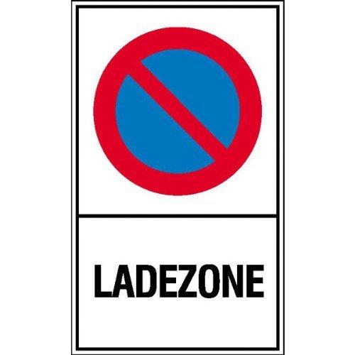 Haltverbotsschild Symbol: Eingeschränktes Haltverbot, Text: Ladezone 15x25 cm