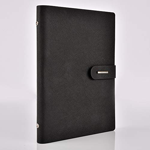 iMeaniy Loose Leaf Notebook,Wide Ruled Hardcover Executive Writing Notebook,Thick Lined Paper,Gift for Students Kids Adults Business Conference,192 Pages,9.2x6in(Black) - Loose Leaf Notebooks