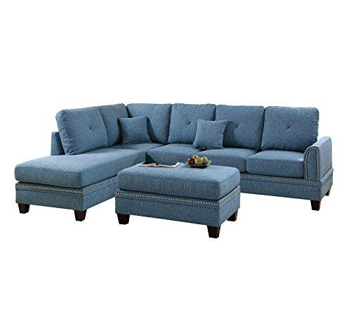 Amazon Com Poundex Y651216 Pdex F6512 2 Pcs Sectional Sofa Blue