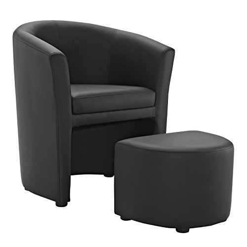 Modway Divulge Faux Leather Armchair and Ottoman 2-Piece Set in Black