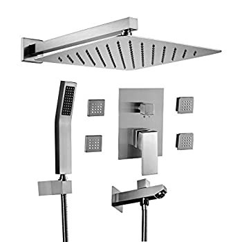 Image of Home Improvements Acefy ATF18003 Shower Systems, Shower Faucet Set with Body Spray Jets Massage and Tub Spout, 12' Wall Mounted Rain Showerhead and Hand Shower Brushed Nickel (Contain Rough In Pressure Balance Valve)