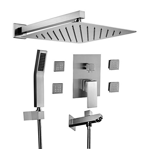 Acefy Shower Systems with Body Sprays and Tub Spout, Shower Faucet Valve and Trim Kit Included Concealed Shower System (Brushed Nickel W/Tub Spout and Body Jet) ()