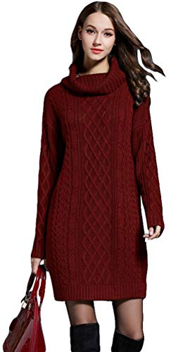 Knee Dress Women Dress Turtleneck Sleeve Knitting Loog Knit Sweater AiseBeau Burgundy Td8wIxPq8