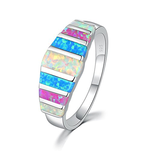 (CiNily Women's Opal Rings,Create White Blue Pink Fire Opal Silver Plated Gemstone Ring Size)