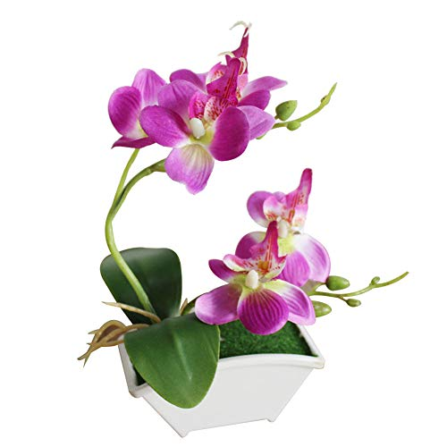 Teydhao Artificial Butterfly Orchid Flower Phalaenopsis Fake Outdoor Plants Faux Plastic Greenery Shrubs Indoor Outside Hanging Planter Home Kitchen Office Wedding Garden Decor (Purple)