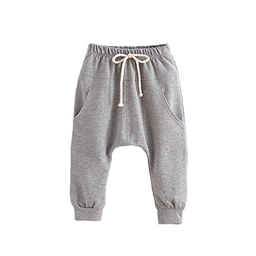 Price comparison product image Verypoppa Baby Boys Girls Casual Hip-Hop Big Pockets Harem Pants (100 (3-4 Years), Gray)