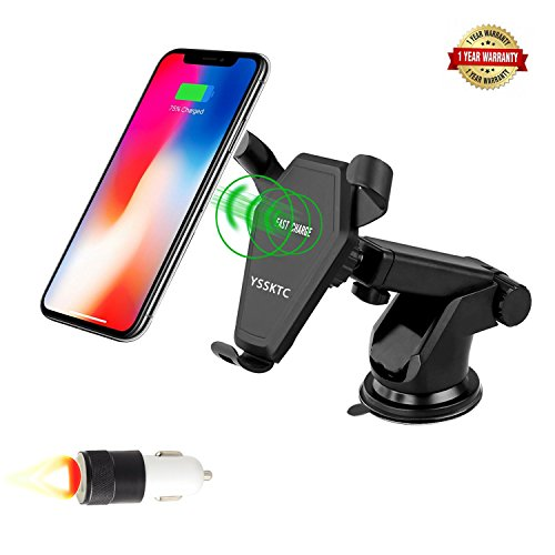 Wireless Car Charger Mount,YSSKTC Gravity Linkage Charging for iPhone X, 8/8 Plus Samsung Galaxy S8, S7,S6/S7 Edge, Note 8 5 & Qi Enabled Devices
