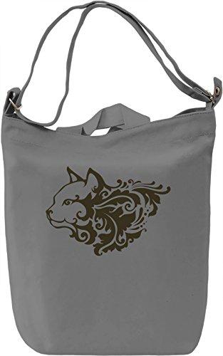 Cat head Borsa Giornaliera Canvas Canvas Day Bag| 100% Premium Cotton Canvas| DTG Printing|