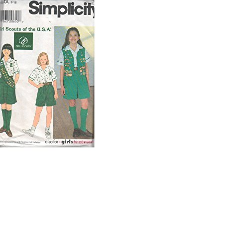Simplicity Pattern 7776 - Girl Scout Uniforms and Sash - Girl's Size 7-16 & Plus Size 8-1/2 - 16-1/2
