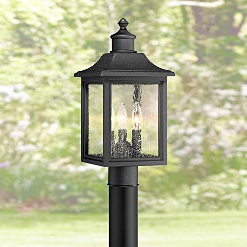 "Moray Bay Outdoor Post Light Fixture Mission Style Black 17"" Clear Seedy Glass for Exterior Garden Yard Patio - John Timberland"