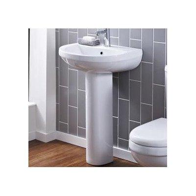 NCS202 - Ivo 550mm Basin 1TH / NCS203 - Ivo Full Pedestal Pebble Grey