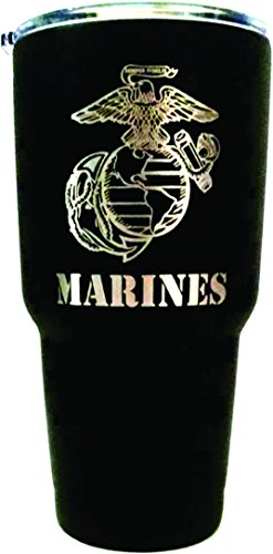 U.S. Marine Corps Engraved on Black 30 oz. Stainless Steel Vacuum Insulated Tumbler w/Clear Lid - BOTH SIDES